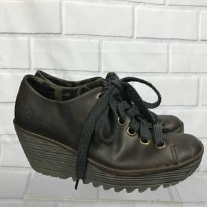 Fly London Leather Lace Up Wedge Booties 41